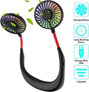 Portable Sports Neck Hanging Fan, Hands Free Mini USB Rechargeable LED Wearable Cooling Fan with 360 Rotate 3 Levels Speed Lower Noise for Home Office Outdoor Travel Gym
