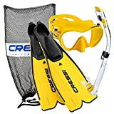 Cressi Rondinella Full Foot Mask Fin Snorkel Set with Bag, Yellow, Size 7/8-Size 41/42