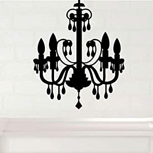 Black Chandelier Wall Decal Vinyl Home Decor for Living Room, Dining Room, Kitchen, Bedroom, Formal Area