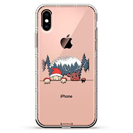 Funny Santa And Reindeer Peeking Over A Hill Luxendary Air Series Clear Case With 3d Printed Design Air Cushions For Iphone Xs X