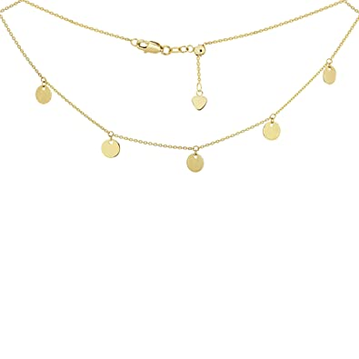 523284558c7b63 Image Unavailable. Image not available for. Color: Choker Necklace with Dangle  Disk Charms Chain 14k Yellow Gold - Adjustable