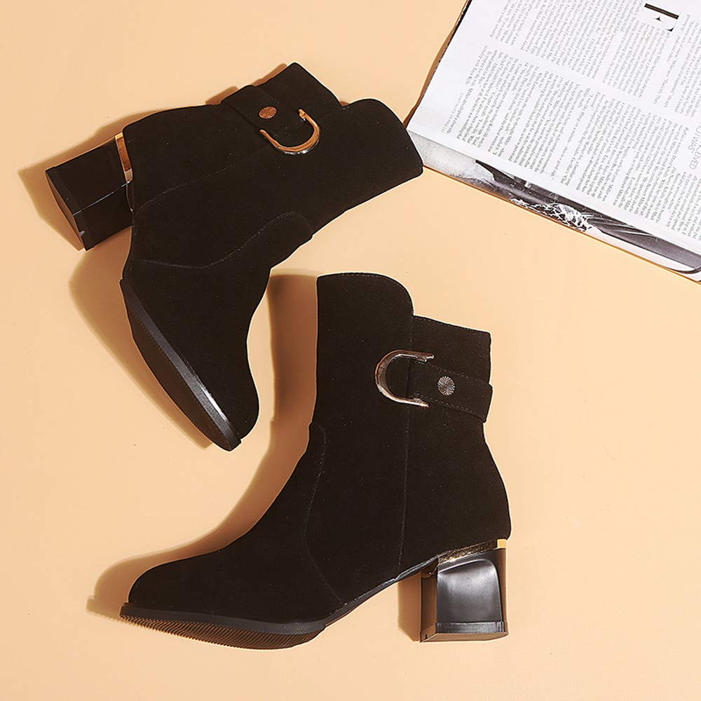 FORUU Women Ankle Short Booties Middle Tube Suede Martin Boots Shoes Zipper Boot