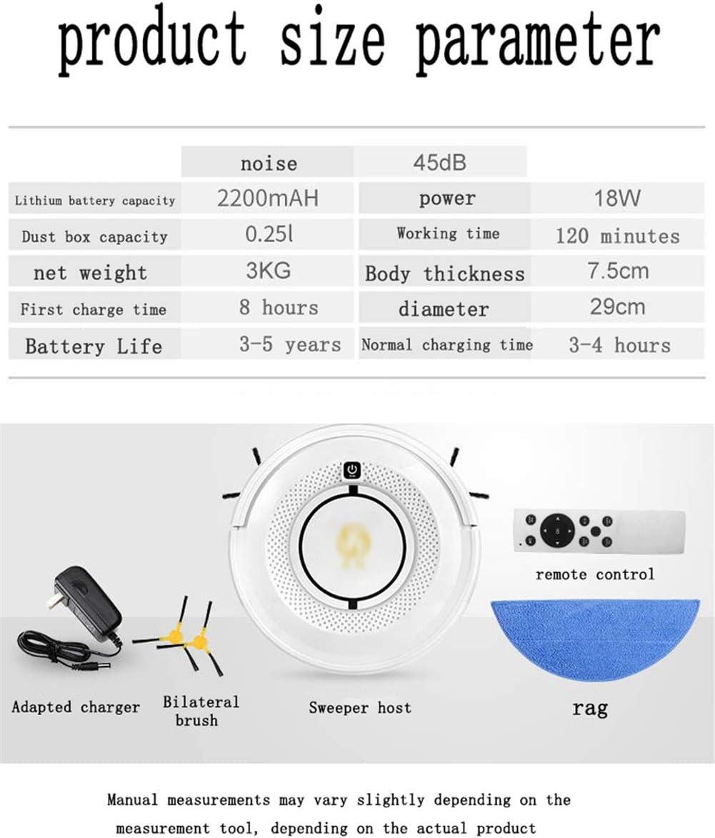 Aspirateur Robot, l\'aspiration puissante 1200Pa Nettoyage Automatique for les Poils d\'Animaux idéal for les poils d'animaux de compagnie, (Color : White) White