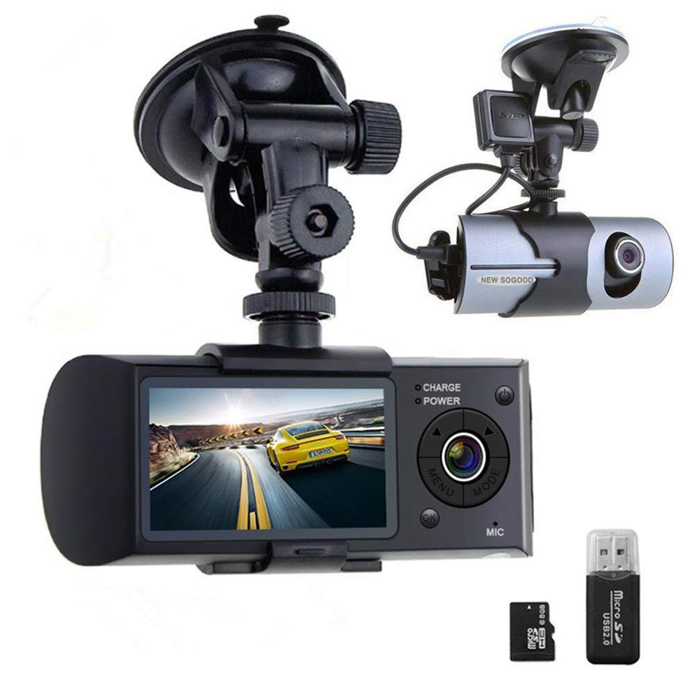 THINK SOGOOD Dual Lens Car Video Camera, 2.7'' Dashboard Camera with 140° Front Wide Angle and 120° Rear Wide Angle, DVR Recorder with G-Senor, Loop Recording, GPS(8G TF Card Included)
