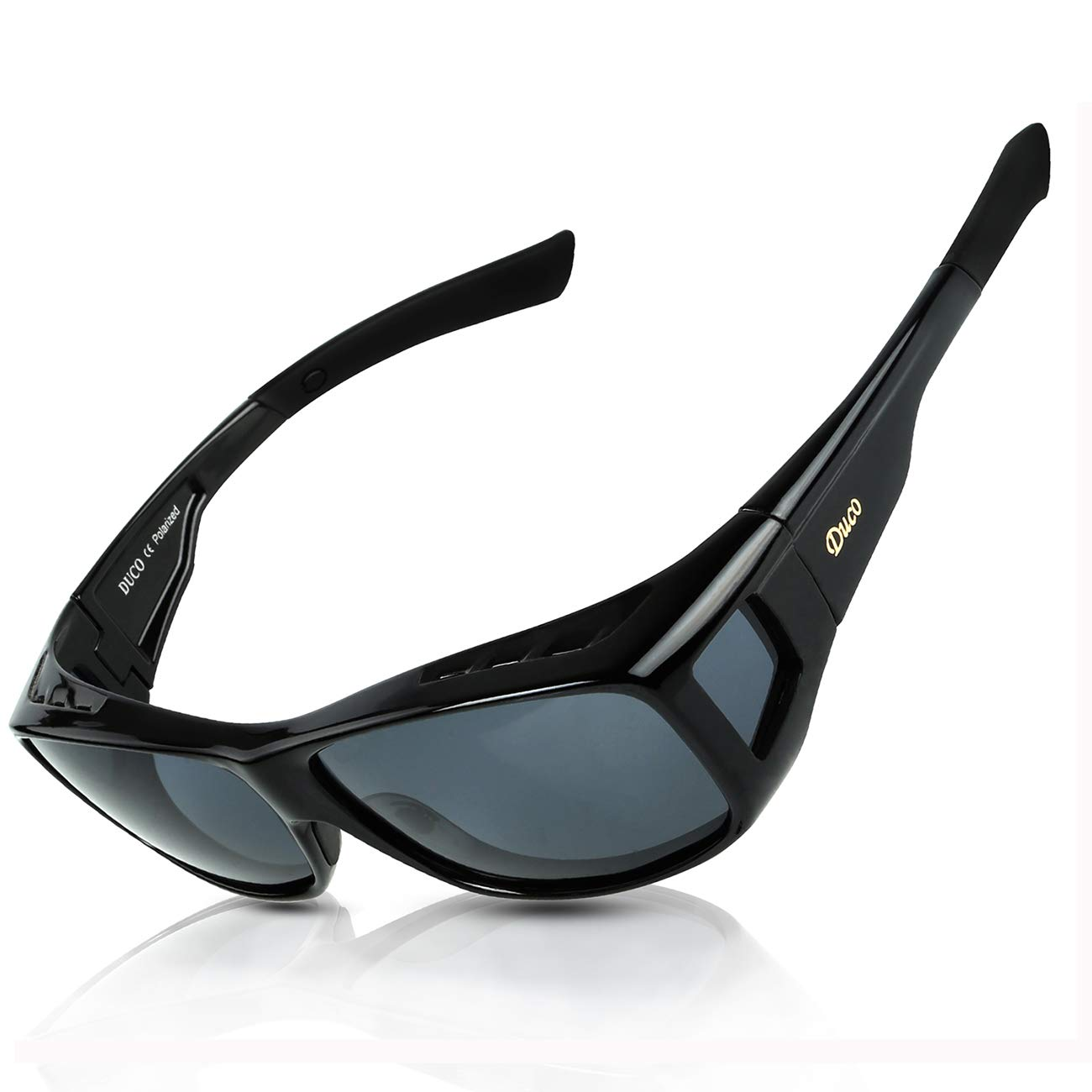 fa8fed622b Amazon.com  Duco Unisex Wear Over Prescription Glasses Rx Glasses Polarized  Sunglasses 8953 (L Size Black Grey)  Clothing