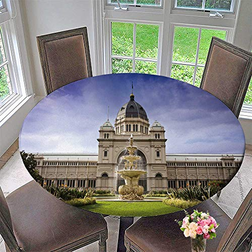 PINAFORE HOME Round Premium Tablecloth Royal Exhibition Build Behind Carlton Gardens in Melbourne Victoria Stain Resistant 40