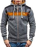 Modfine Men's Long sleeve Zip-Up Casual Fleece Hoodie Coat Sweatshirt Jacket(Dark gray,X-Large)