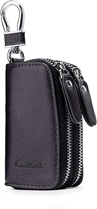 Contacts Mens Genuine Leather Car Key Holder Zipper Case Wallet Keychain Bag 10440742