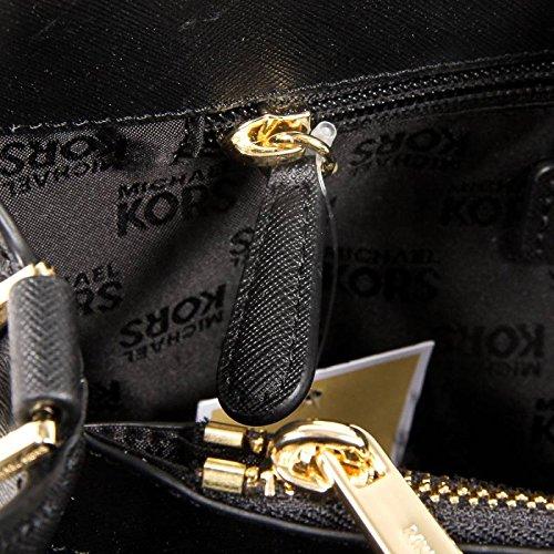 MICHAEL KORS PORTIA LARGE BLACK LEATHER EW SATCHEL Crossbody BAG $348