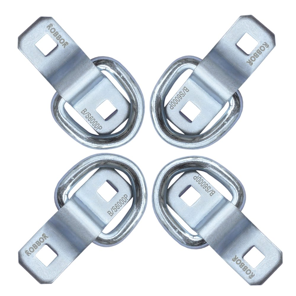 Tying Down Motor bikers,ATVs ATV/'s D Ring Tie Down Anchor 4 Pk Robbor Surface Mount Tie Down Ring Heavy Duty 6000 Pound Breaking Strength Super Strong Forged Steel for Trailer Cargo Control