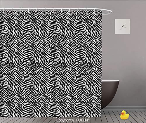 PUTIEN Hotel Quality Shower Curtain [ Print Decor,Animal Print Pattern Fashionable Trendy Decorating Illustration Decorative,Black White ] Decorative Shower Curtain Ideas,60