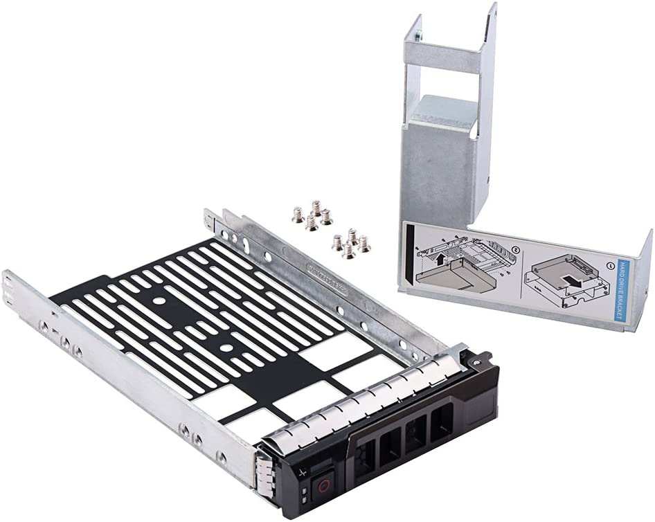 """mveohos 3.5"""" SAS/SATA Hard Drive Tray Caddy with 2.5"""" HDD Adapter SSD SAS SATA Bracket for Dell Poweredge R320, R420, R720, T320, T420, T620 Servers F238F with Screws"""