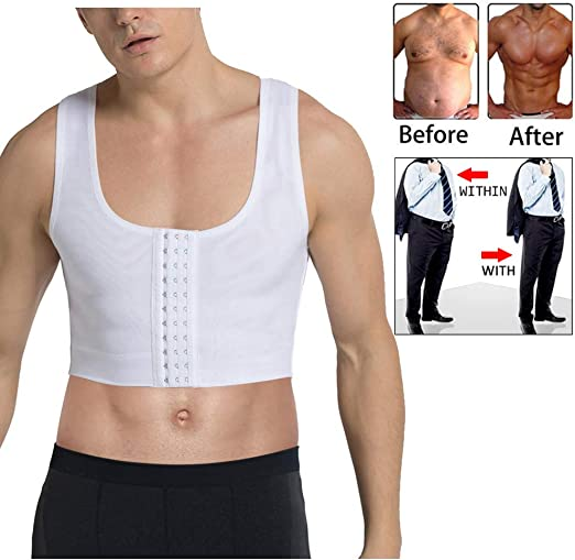 New Mens Compression Male Shapewear Corset Slim Vest Chest Shaper for Man Boobs