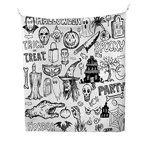 Vintage Halloweenocean tapestryHand Drawn Halloween Doodle Trick or Treat Party Severed Hand Design 54W x 72L inch Large tapestryBlack -