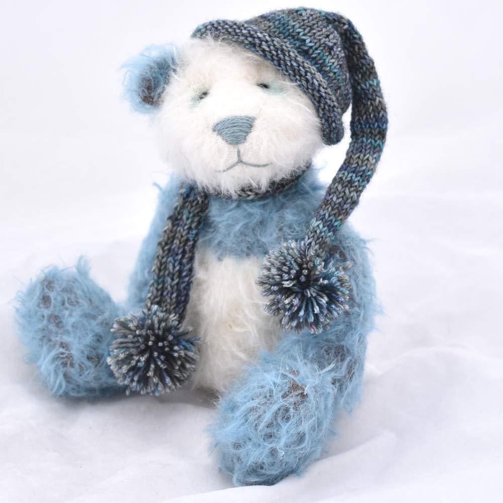 Koji Panda Teddy Bear Plush Blue and White Mohair Artist Collectable OOAK 8 1//2 inches