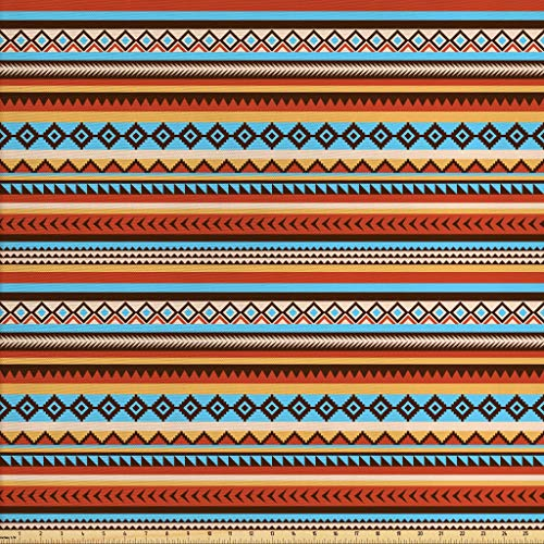 Lunarable Native American Fabric by The Yard, Ethnic Aztec Pattern Chevrons Arrow Heads Rectangles Tribal Motifs Design, Decorative Fabric for Upholstery and Home Accents, 3 Yards, Multicolor
