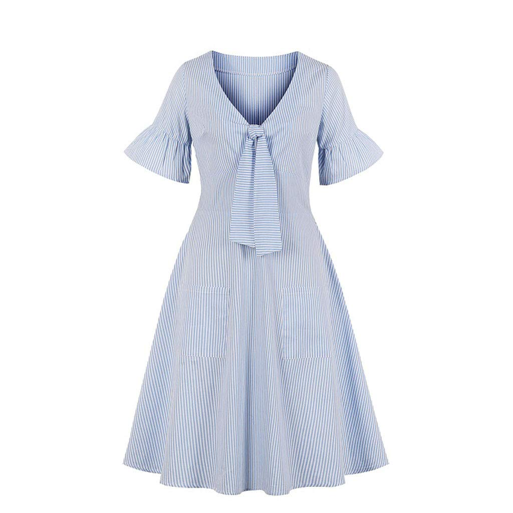 Sttech1 Women Botton Bow Flare Sleeve Striped V-Neck A-line Swing Dress Light Blue
