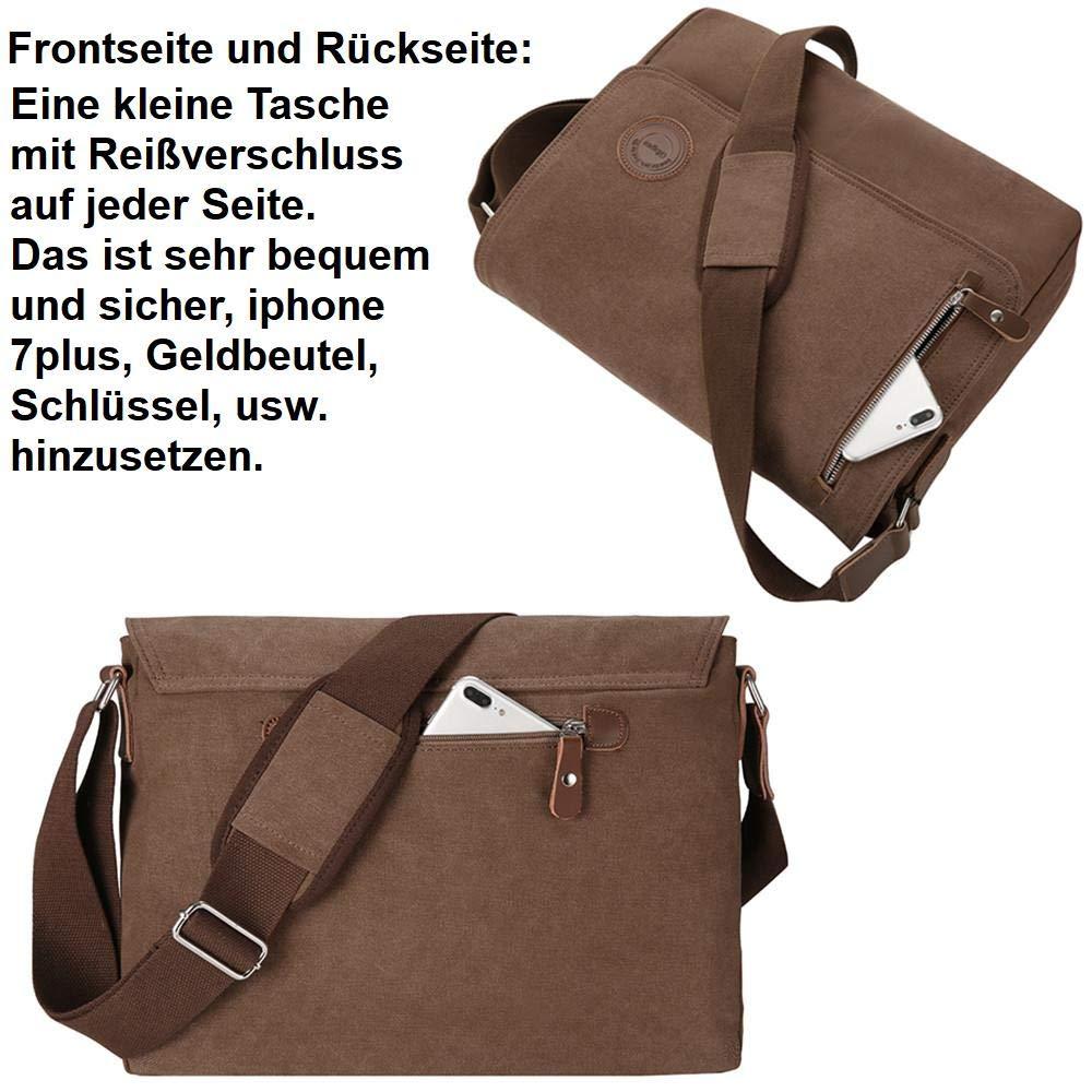7e830803c3756 Umhängetasche Herren 15.6 Zoll Arbeitstaschen für Herren Messenger Bag für  A4 Ordner Arbeit Uni Büro Laptopfach (15.6 Zoll - Braun)  Amazon.de   Koffer