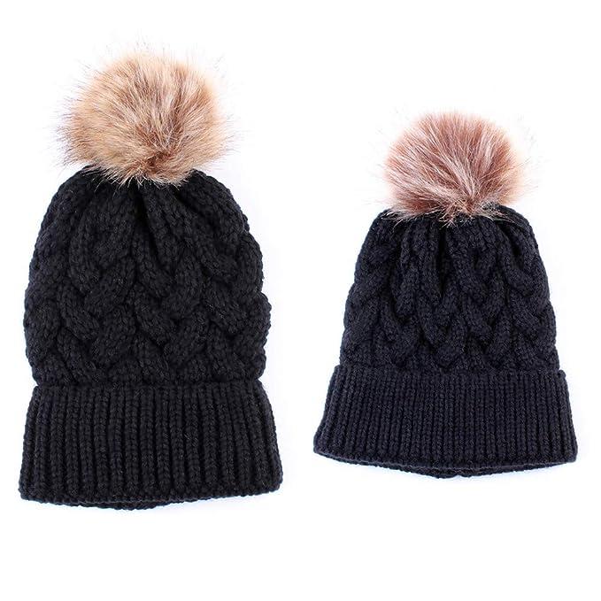 Quaan Mode Mama und Säugling Stricken Warm Hüte Gestrickt Wolle ...