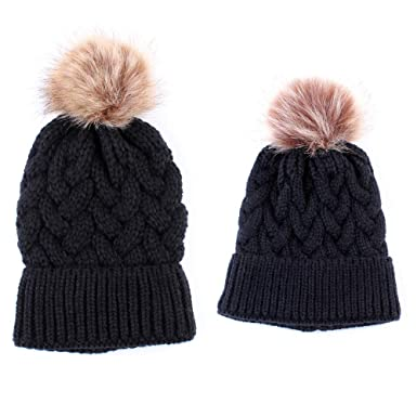 05477b4c4d5c5 Beonzale Winter Hat for Mom And Baby Knitting Keep Warm Balaclavas Berets   Amazon.co.uk  Clothing
