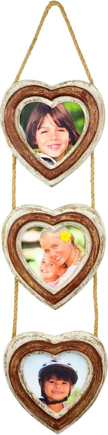 Excello Global Products Rustic Heart Shaped 3 Picture Photo Frame Collage: Hand Painted Distressed Wood Hanging On String Wall Decor. Holds Three 5 x 5 Photos.