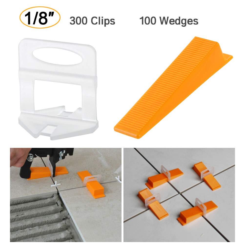 Tile Leveling System DIY Tiles Leveler Spacers 1/8 inch 300pcs Leveling Spacer Clips Plus 100pcs Reusable Wedges (1/8'' (3mm))