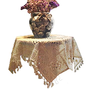 Tablecloth Vendimia Crochet Americano Flor De Encaje Redondo Mantel Jardín Tejer Hollow Art Tea Table Cloth