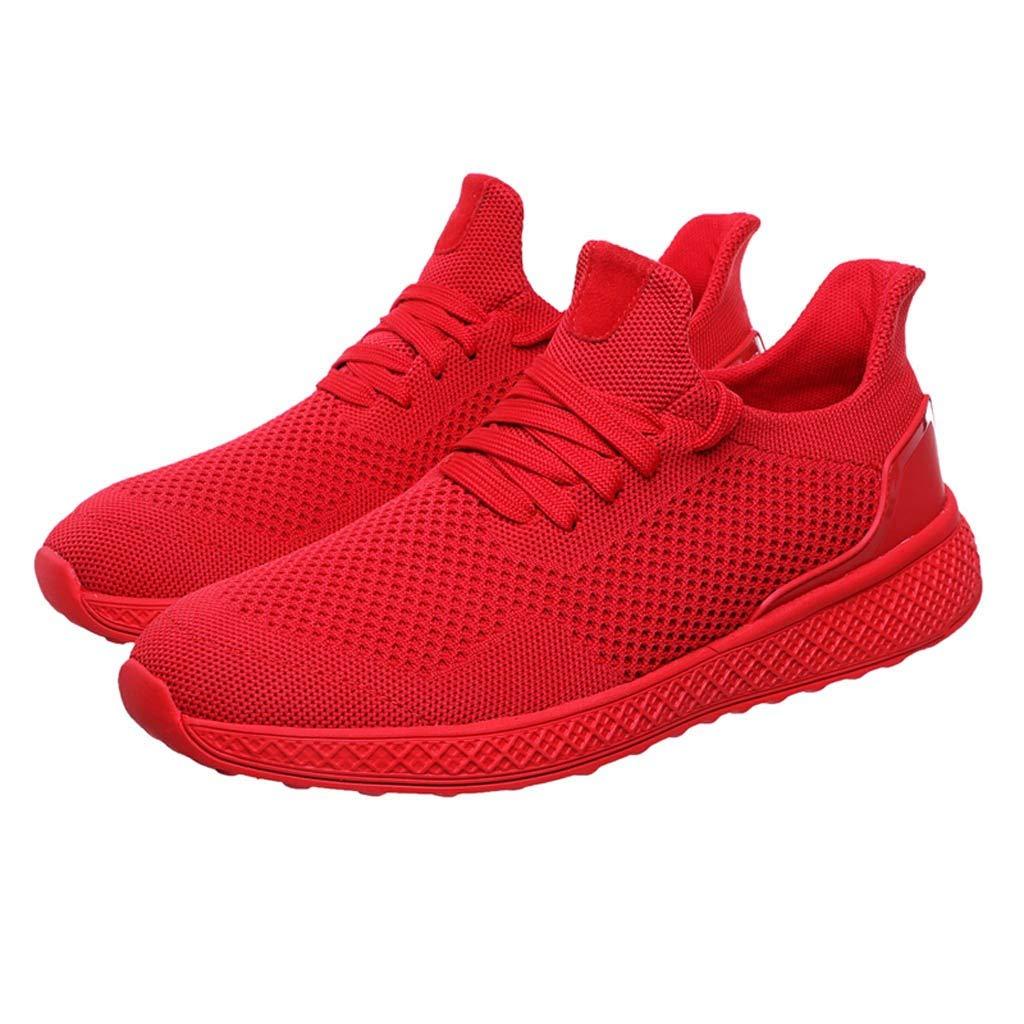 Herren Mesh Sneakers Sport Laufschuhe Freizeitschuhe Breathable Red Schwarz