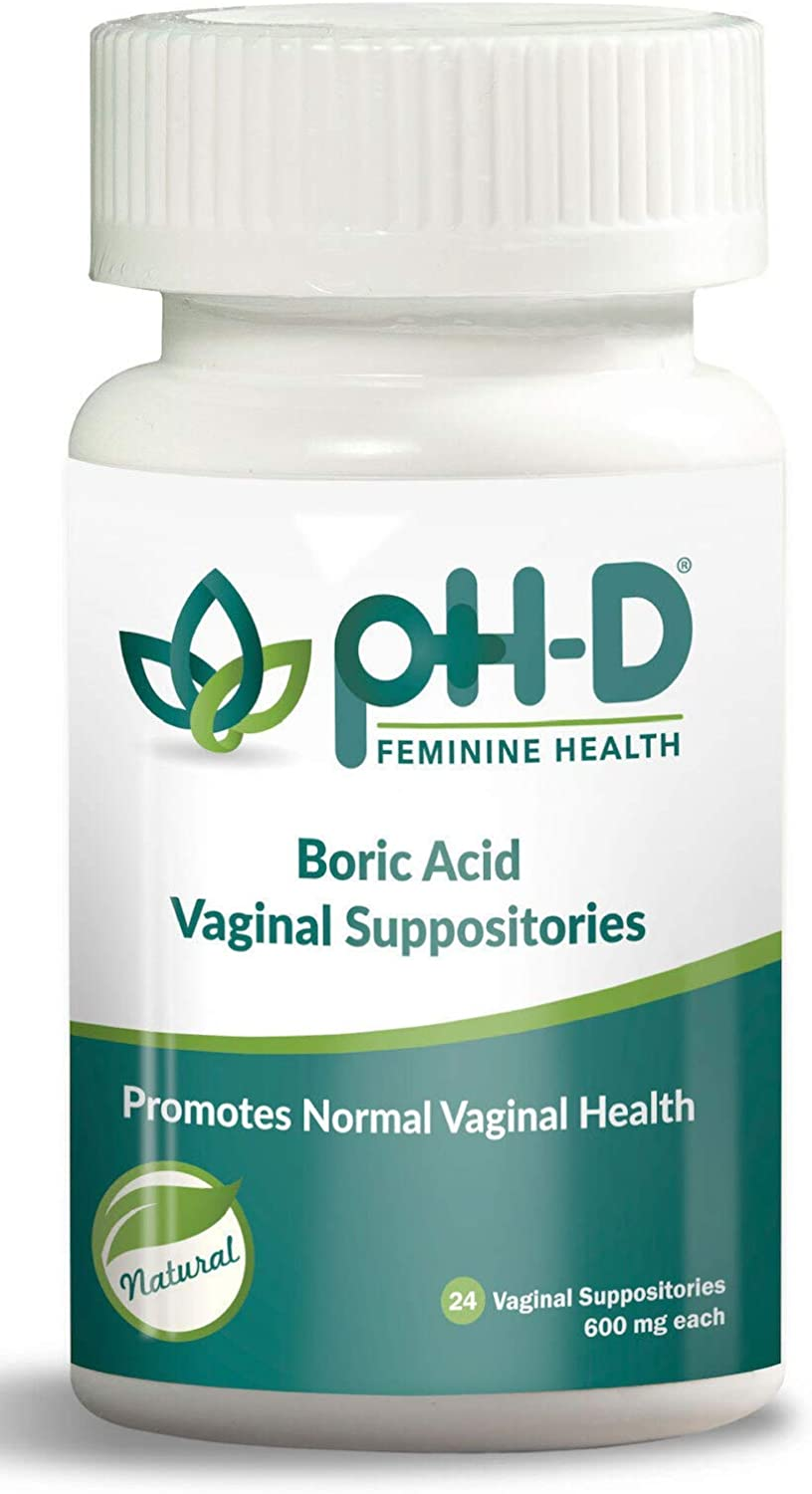 pH-D Feminine Health - 600 mg Boric Acid Suppositories - Woman Owned - Alternative Support for Vaginal Balance -24 count: Health & Personal Care