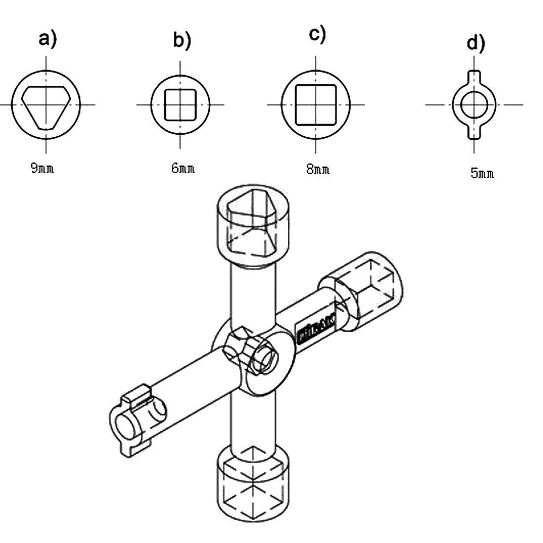 sourcing map Llave conmutadora para tren el/éctrico cuadro armario de 4 v/ías Cruz Multi Funci/ón