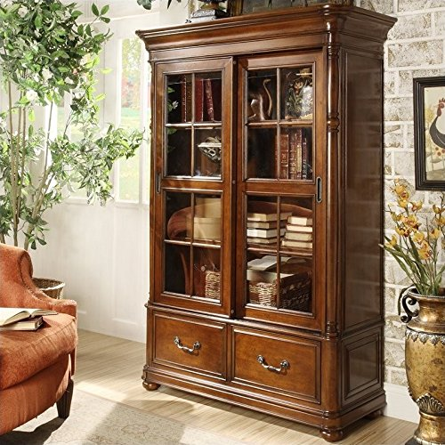 Door 4 Shelf Barrister Bookcase (Riverside Furniture Bristol Court Sliding Door Bookcase in Cognac Cherry)