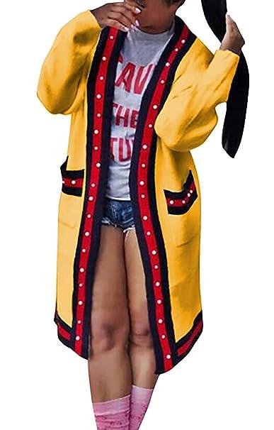 Cardigan Mujer Largos Manga Larga Abalorios Abrigos Primavera Otoño Casual Anchas Ropa Cómodo Chaquetas Outerwear Prendas Exteriores: Amazon.es: Ropa y ...