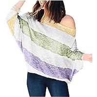 MNLOS Camisa de Rayas gradiente de Moda para Mujer Blusa de Manga Larga sin Tirantes Suelta de Gran tamaño Top