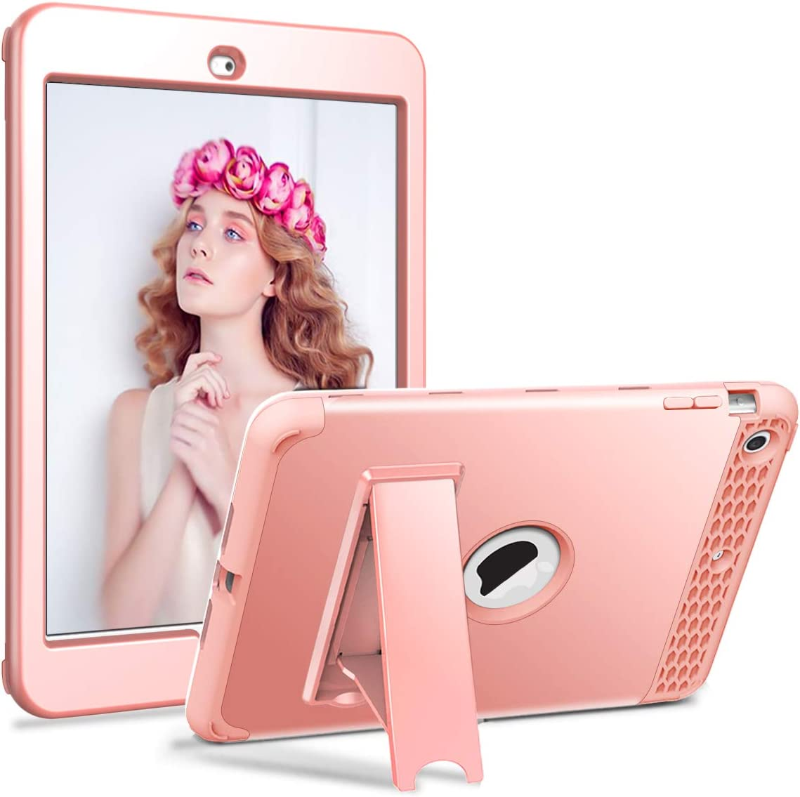 iPad Mini Case, Mini 2 Case, Mini 3 Case, Elepower Three Layer Hybrid Durable Sturdy Kickstand Full-Body Shockproof Protective Case Cover for Apple iPad Mini 1/2/3, Rose Gold