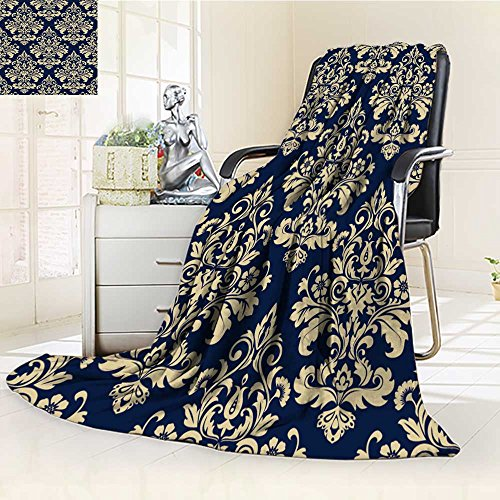 - Jiahonghome Luxury Collection Ultra Soft Plush Fleece Lightweight floral pattern wallpaper baroque damask seamless vector background gold and blu All-Season Throw/Bed Blanket(60