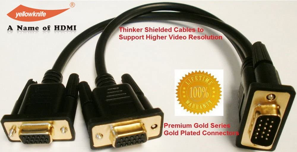 VGA 15 Pin PC SVGA Male to 2 Dual Double Female Monitor Y Adapter Splitter Cable