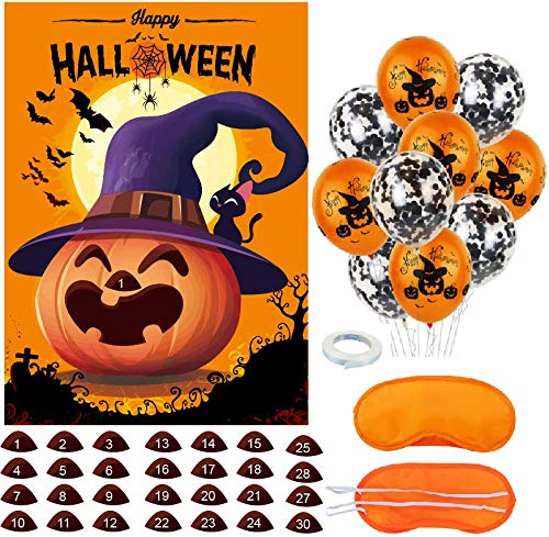 Ocosy Pin The Nose on The Pumpkin Game with Confetti Halloween Balloons Halloween Party Game Halloween Party Favors Halloween