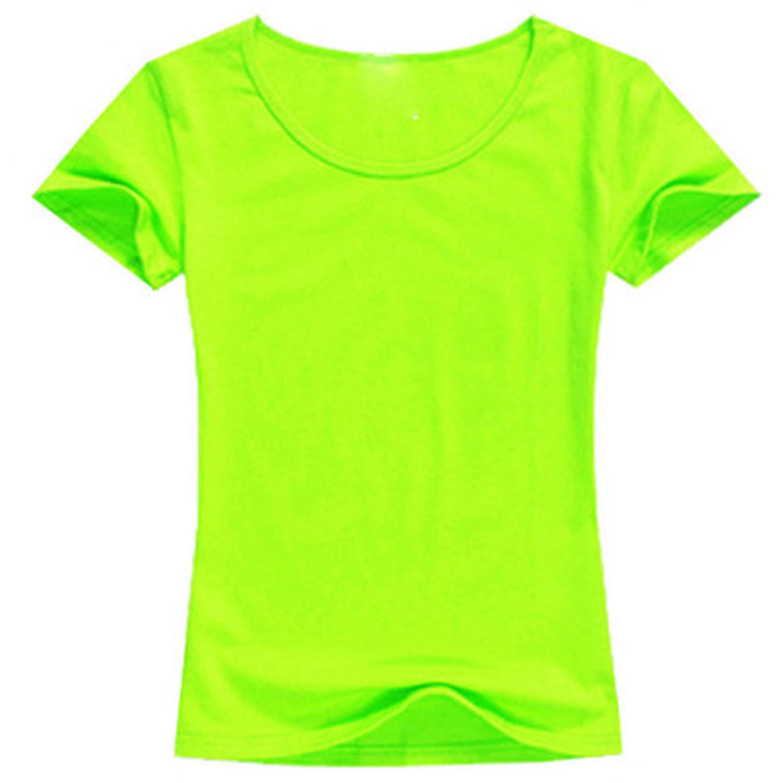 87929594b 2019 Summer S-2XL Plain T Shirt Women Cotton Elastic Basic Casual Tops  Short, Light Green, L at Amazon Women's Clothing store: