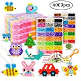 aqua fusion beads Refilll compatible with Aquabeads and Beados art Crafts perler water beads kits for kids non toxic with bead palette layout table, bead pen, bead peeler, sprayer, -24 colors(4000pcs)