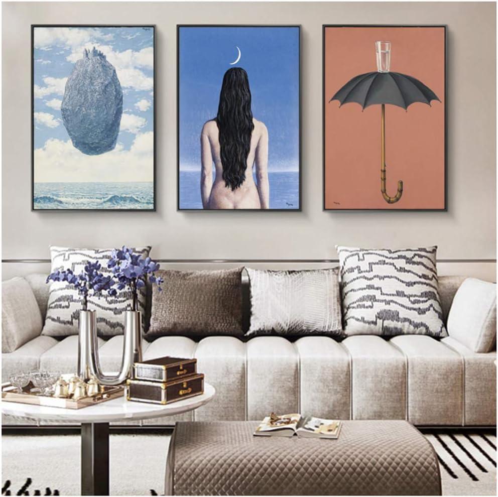 The Evening Gown Pinturas sobre lienzo de Rene Magritte Carteles e impresiones de arte de pared famosos Arte surrealista para sala de estar-50x70cmx3 piezas Sin marco