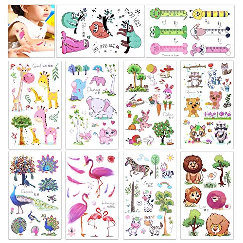 Konsait 150 Assorted Zoo Animal Temporary Tattoos For Children Kids Girls Boys-Fake Tattoo Body art sticker For Children's Birthday Party Bags Filler Gifts Party Favors Supplies-Press on & Remove