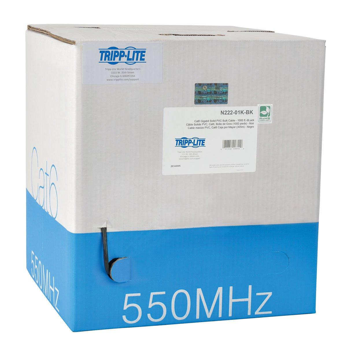 TRIPP LITE Cat6 Bulk Solid-Core Cable, CMR-Rated PVC, Gigabit, Black, 1000' (N222-01K-BK)