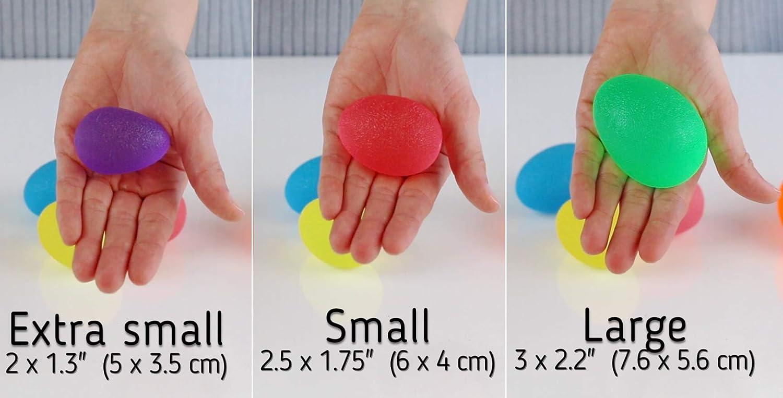 Handtrainer und Fingertrainer mit unterschiedlichen H/ärtegraden The Friendly Swede 3 St/ück Eif/örmige Griffb/älle Antistressball