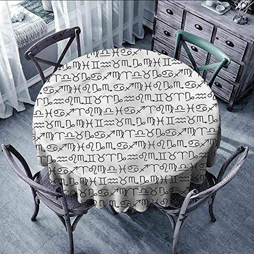 LsWOW Tablecloth Zodiac,Horoscopes Ancient Calendar Gingham Round Tablecloth - Gingham Calendar