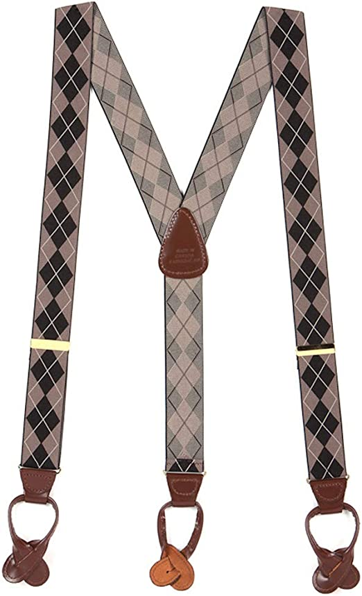 Button Buckle Strap Leather Suspenders 1-Inch