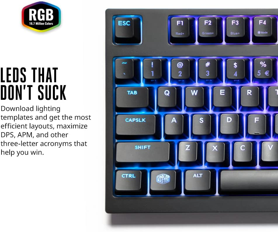 Cherry MX Blue Medium TenKey Cooler Master MasterKeys Pro M White LED Mechanical Gaming Keyboard