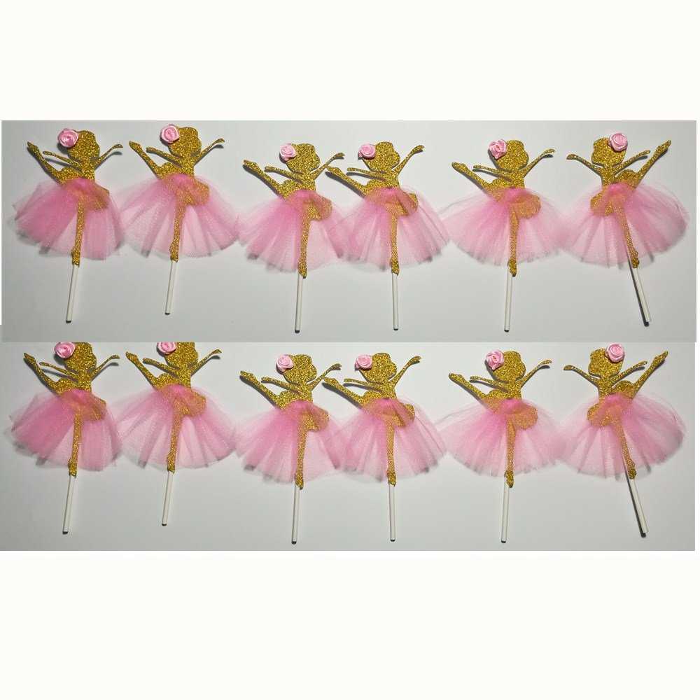 LASLU Cute Ballet Dancer Girls Fairy Peri Dessert Muffin Cupcake Toppers for Picnic Wedding Baby Shower Birthday Party Server(Gold and Pink)