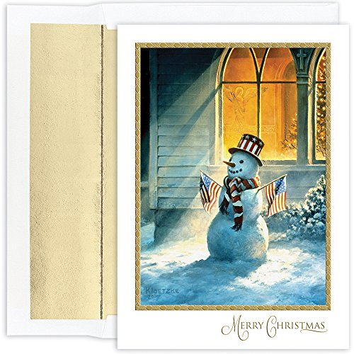 Great Papers! Holiday Greeting Card, Patriotic Snowman , 18 Cards/18 Envelopes, 5.625