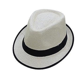 cca62099f3e54 squarex Unisex Men Women Beach Straw Hat Jazz Panama Trilby Fedora Hat  Gangster Cap (Black