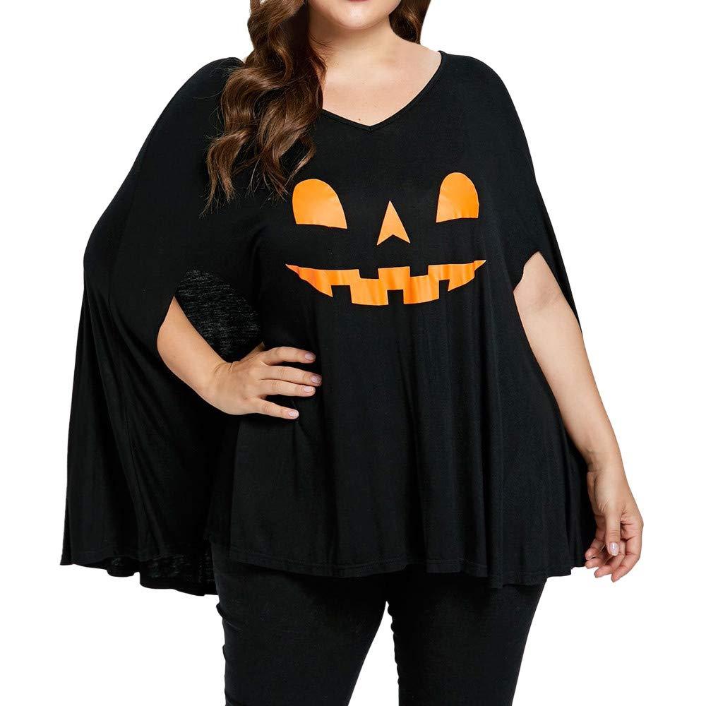 Luckycat Las Mujeres m/ás tama/ño de Halloween Batwing Manga Pumpkin Head Print Lamp Poncho Camiseta